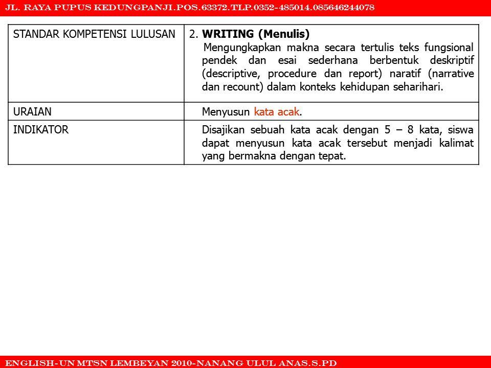 STANDAR KOMPETENSI LULUSAN 2. WRITING (Menulis)