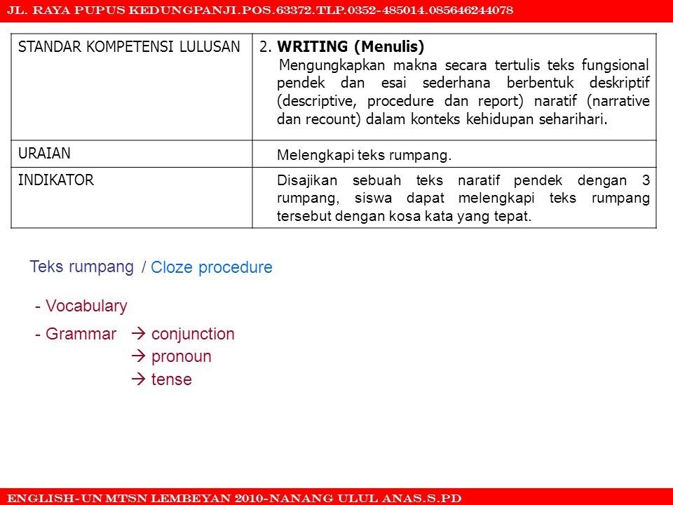 Teks rumpang / Cloze procedure - Vocabulary - Grammar  conjunction