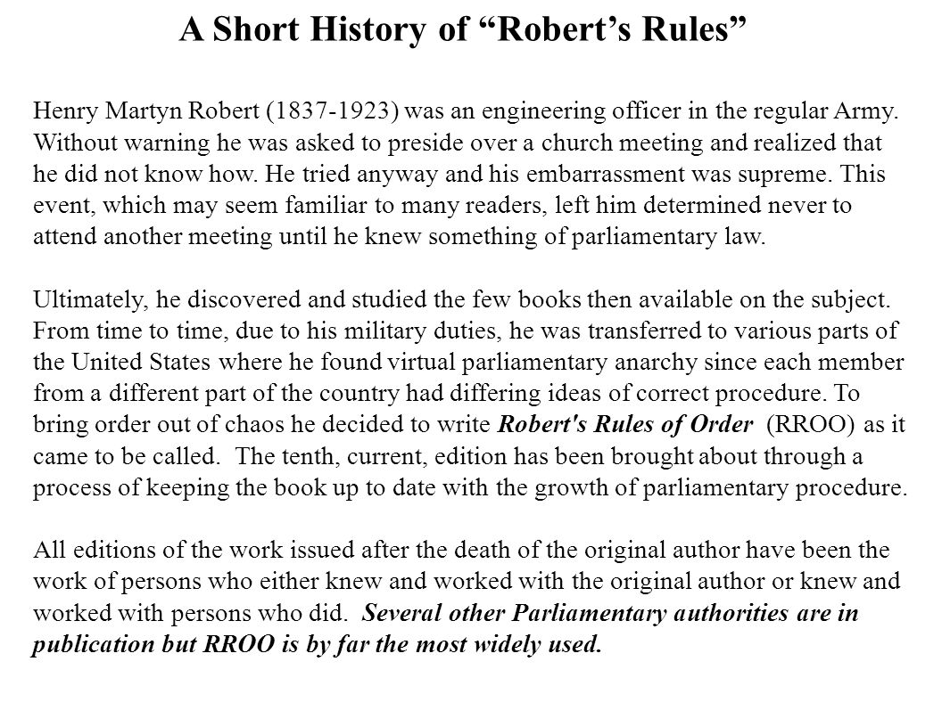 A Short History of Robert's Rules