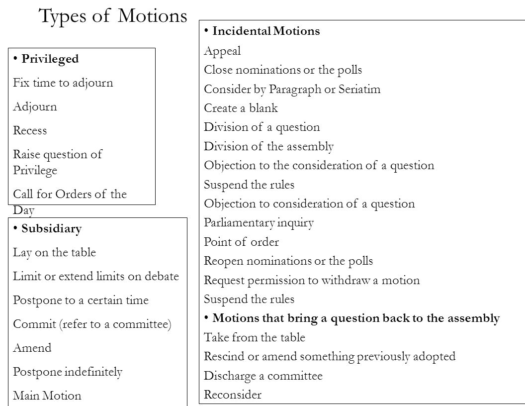 Types of Motions Incidental Motions Appeal