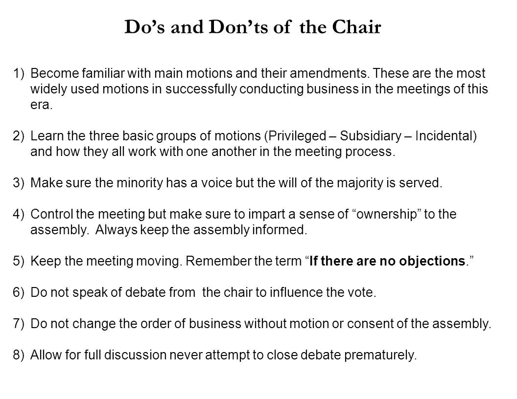 Do's and Don'ts of the Chair