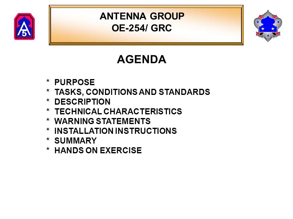 AGENDA ANTENNA GROUP OE-254/ GRC * PURPOSE