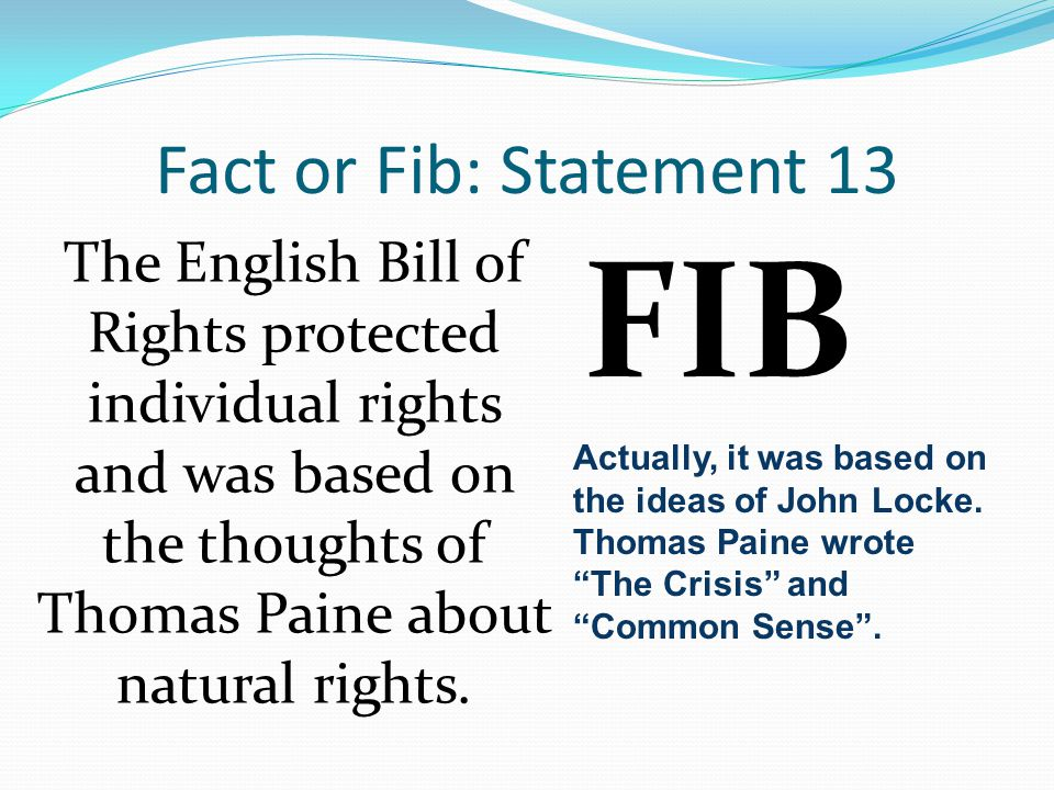 FIB Fact or Fib: Statement 13