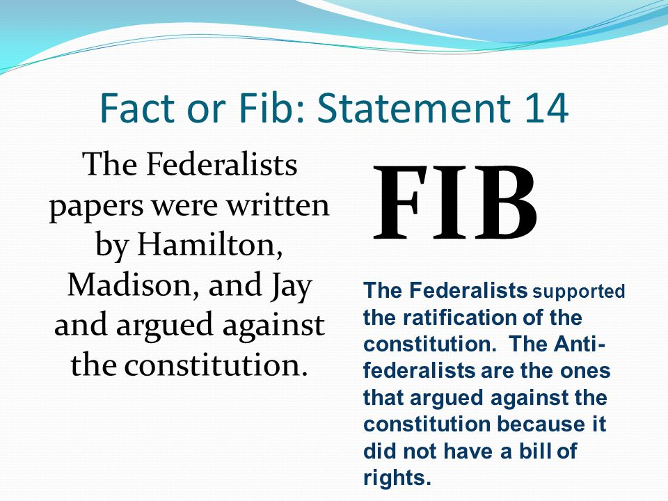 FIB Fact or Fib: Statement 14