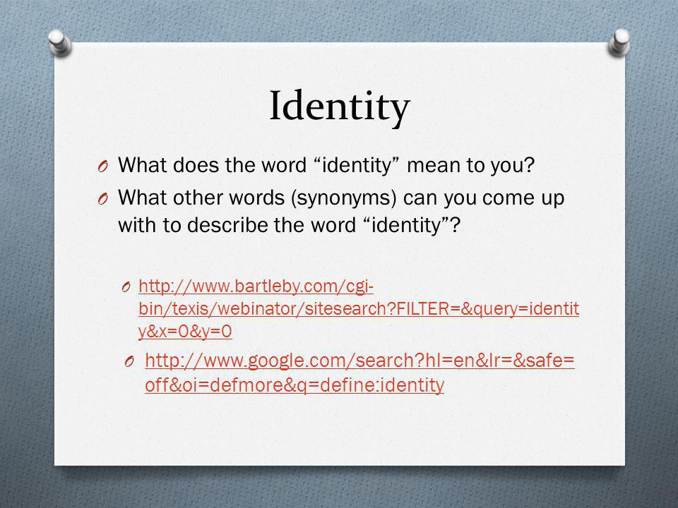 Identity What does the word identity mean to you