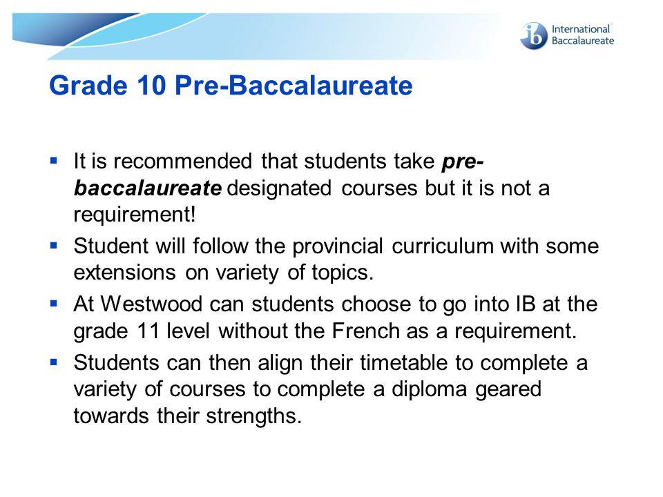 Grade 10 Pre-Baccalaureate
