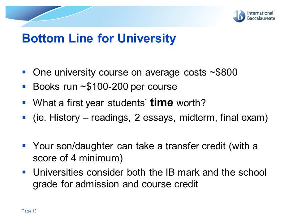 Bottom Line for University