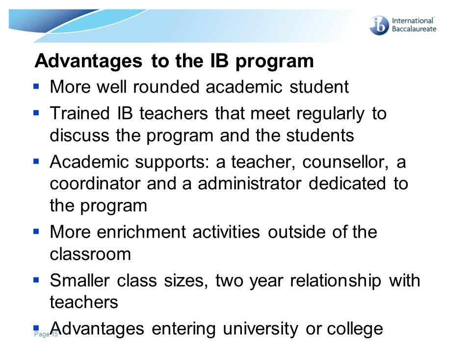Advantages to the IB program