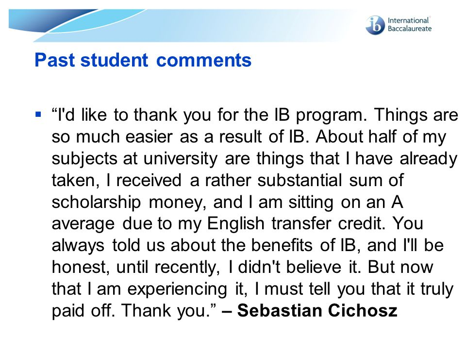 Past student comments