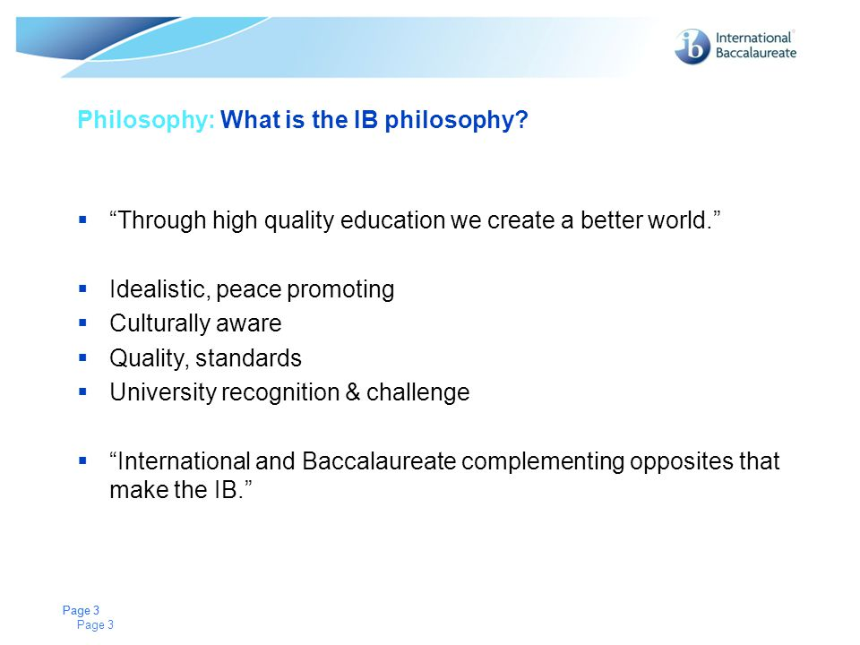 Philosophy: What is the IB philosophy