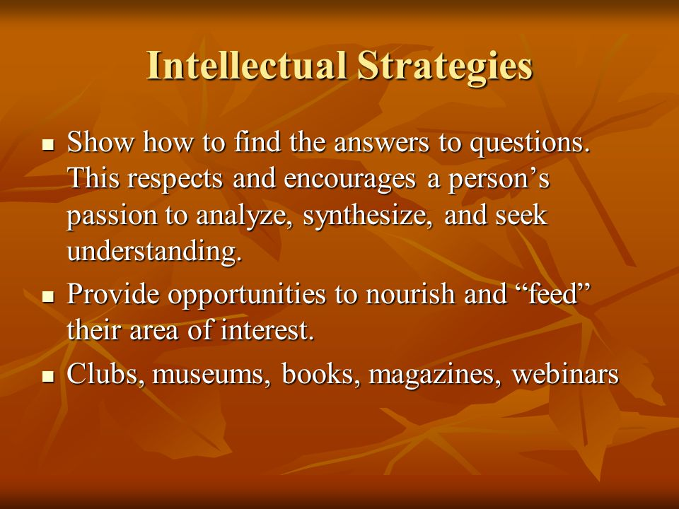 Intellectual Strategies