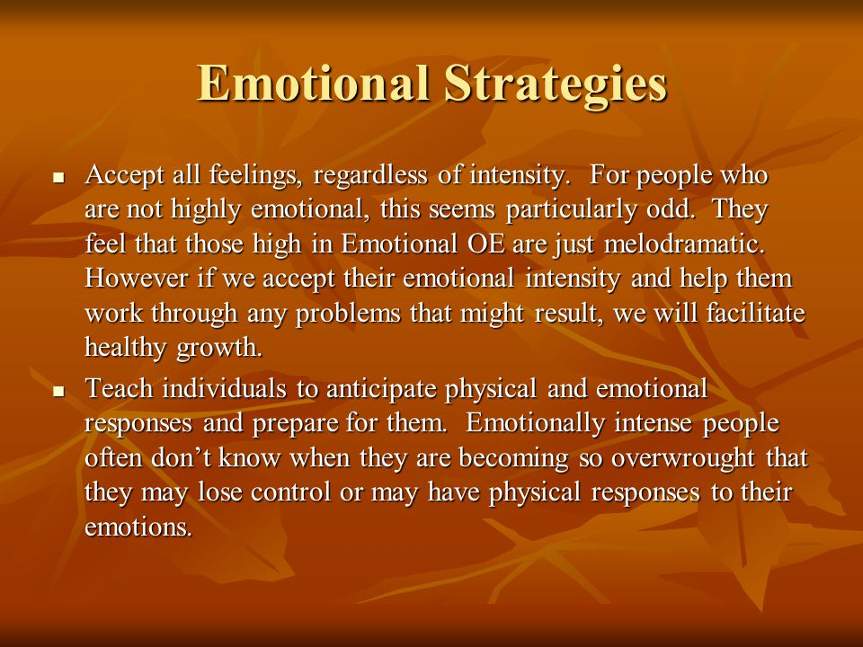 Emotional Strategies