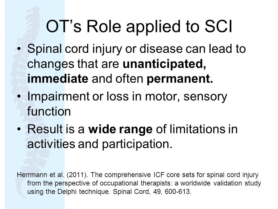OT's Role applied to SCI