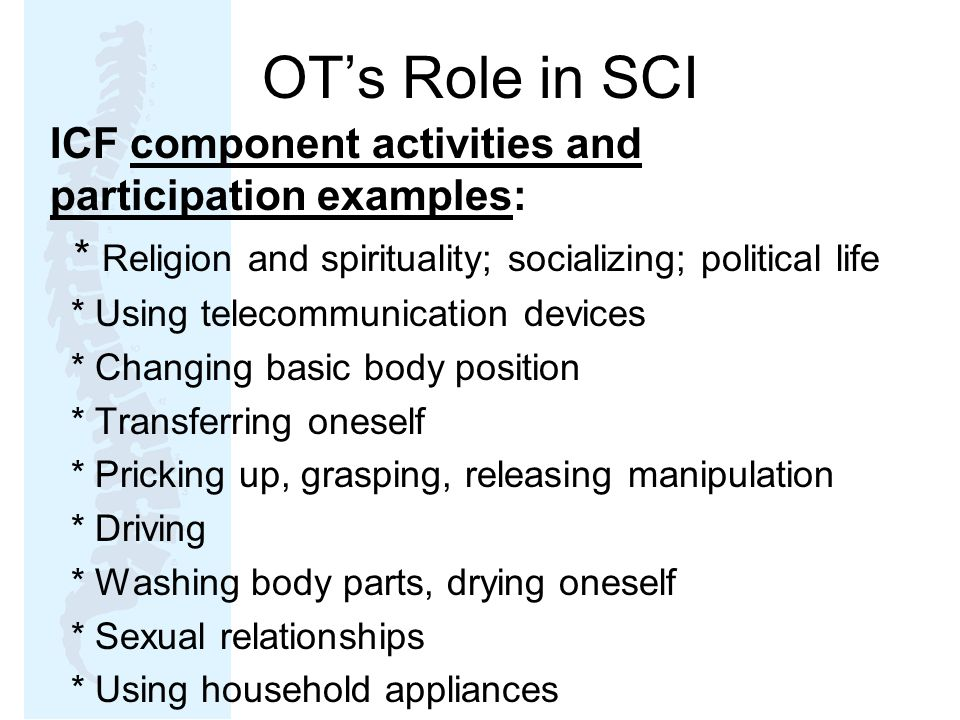 OT's Role in SCI ICF component activities and participation examples: