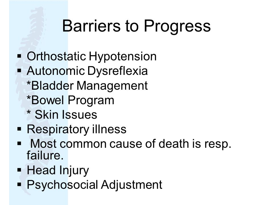 Barriers to Progress Orthostatic Hypotension Autonomic Dysreflexia
