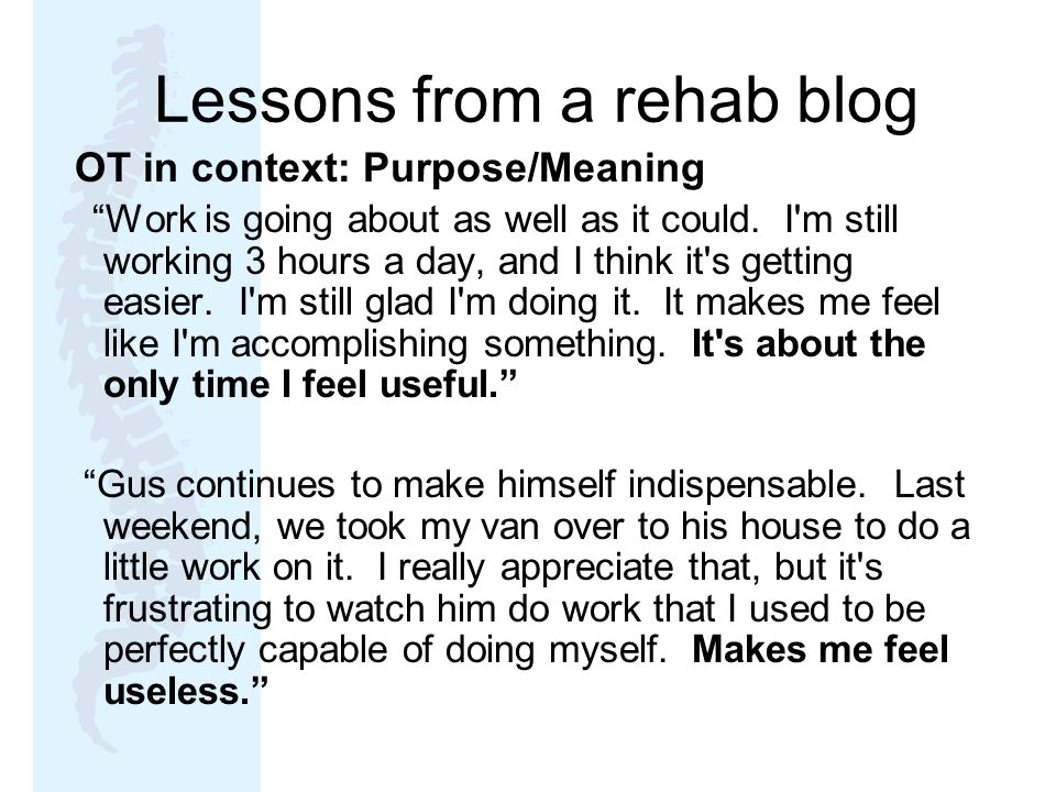Lessons from a rehab blog