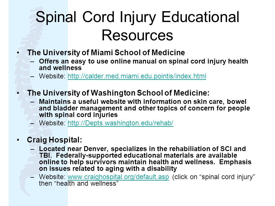 Spinal Cord Injury Educational Resources