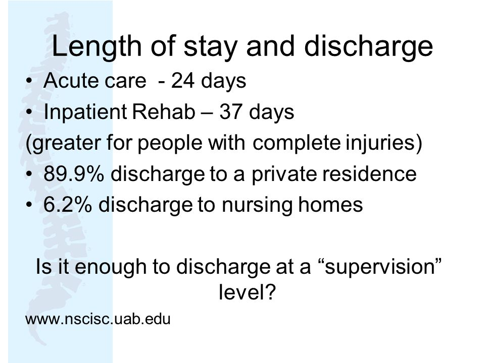 Length of stay and discharge