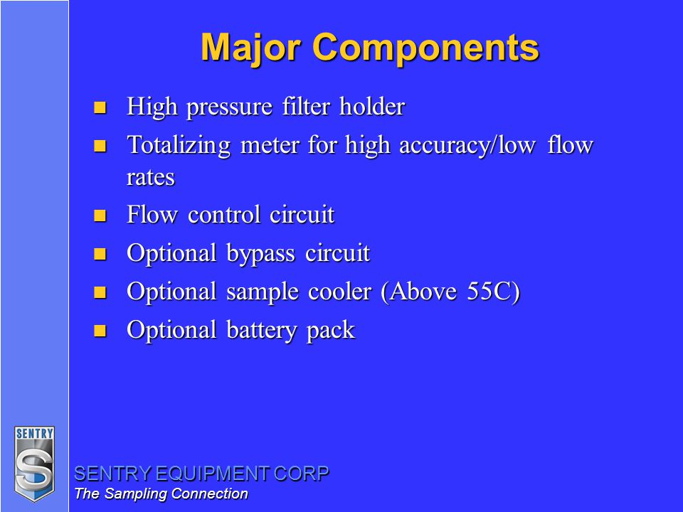 Major Components High pressure filter holder