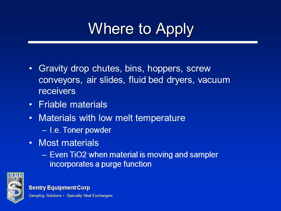 Where to Apply Gravity drop chutes, bins, hoppers, screw conveyors, air slides, fluid bed dryers, vacuum receivers.