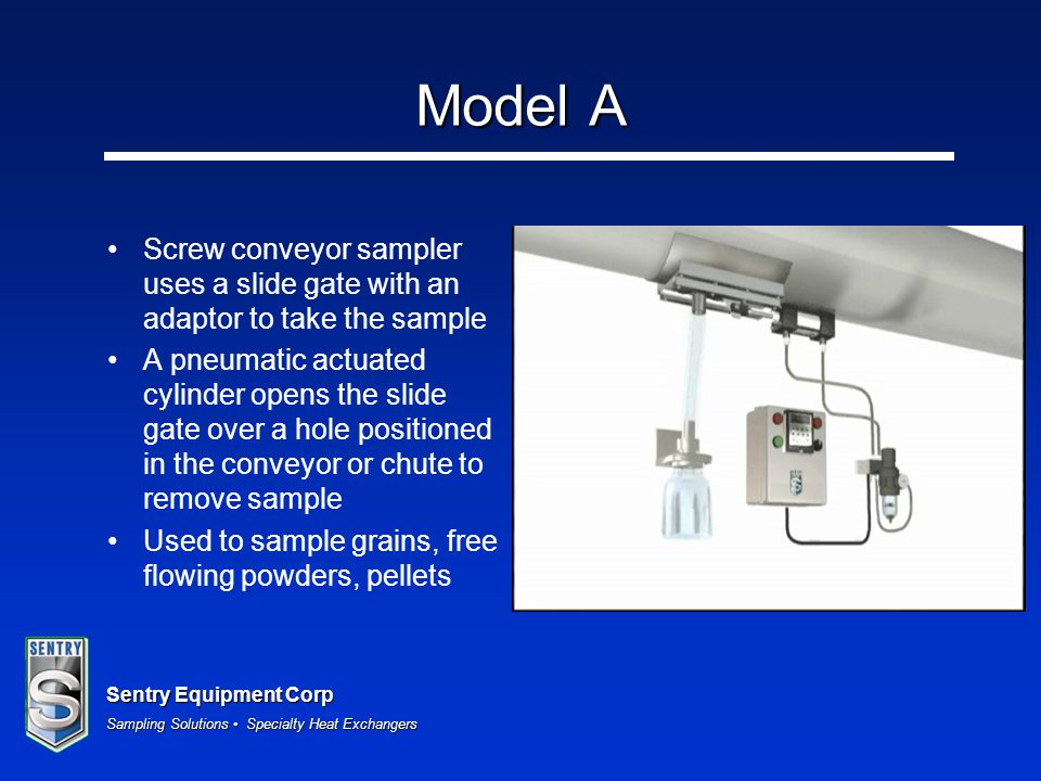 Model A Screw conveyor sampler uses a slide gate with an adaptor to take the sample.