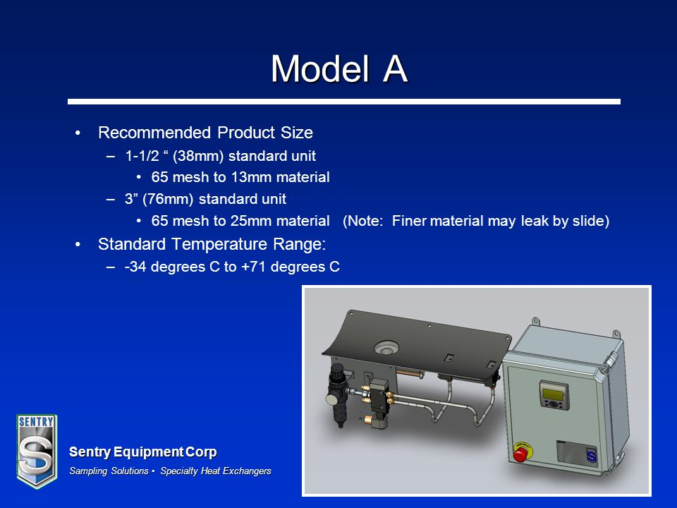 Model A Recommended Product Size Standard Temperature Range:
