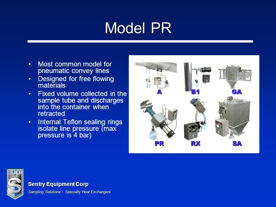 Model PR Most common model for pneumatic convey lines