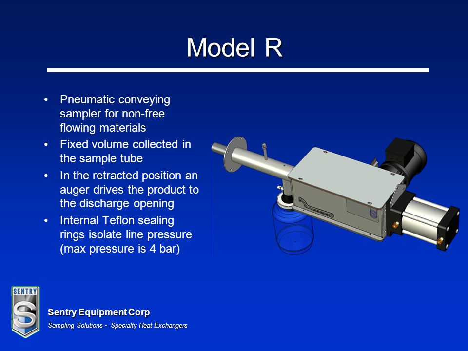 Model R Pneumatic conveying sampler for non-free flowing materials