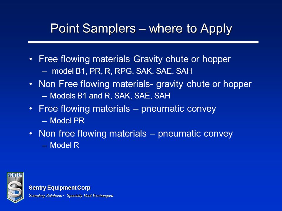 Point Samplers – where to Apply