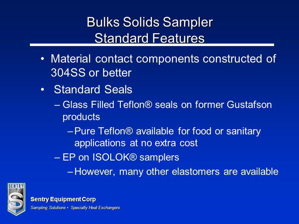 Bulks Solids Sampler Standard Features