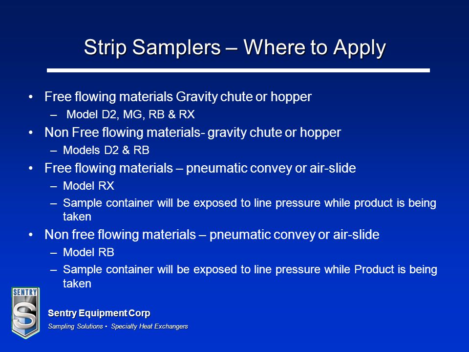 Strip Samplers – Where to Apply