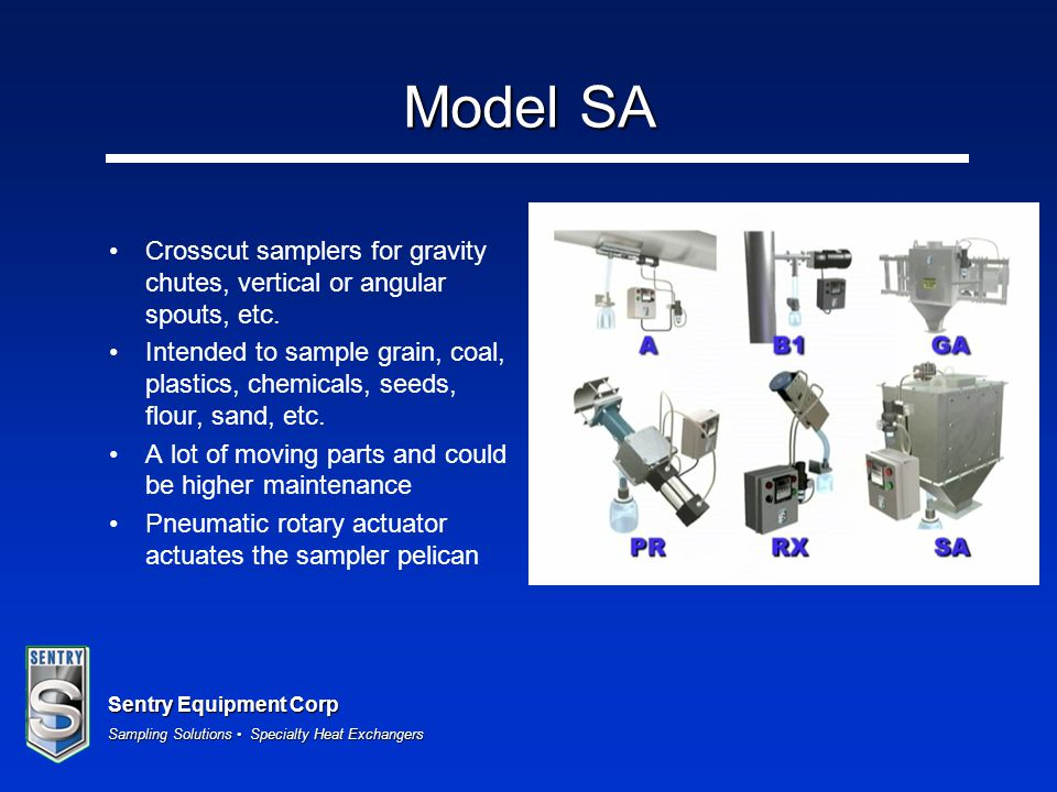 Model SA Crosscut samplers for gravity chutes, vertical or angular spouts, etc.