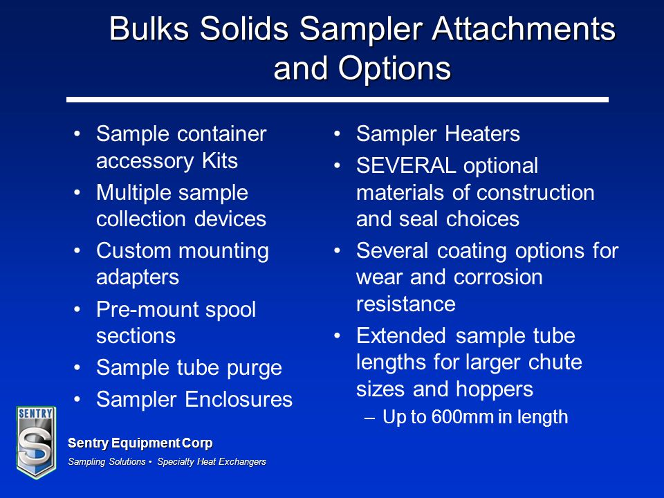 Bulks Solids Sampler Attachments and Options