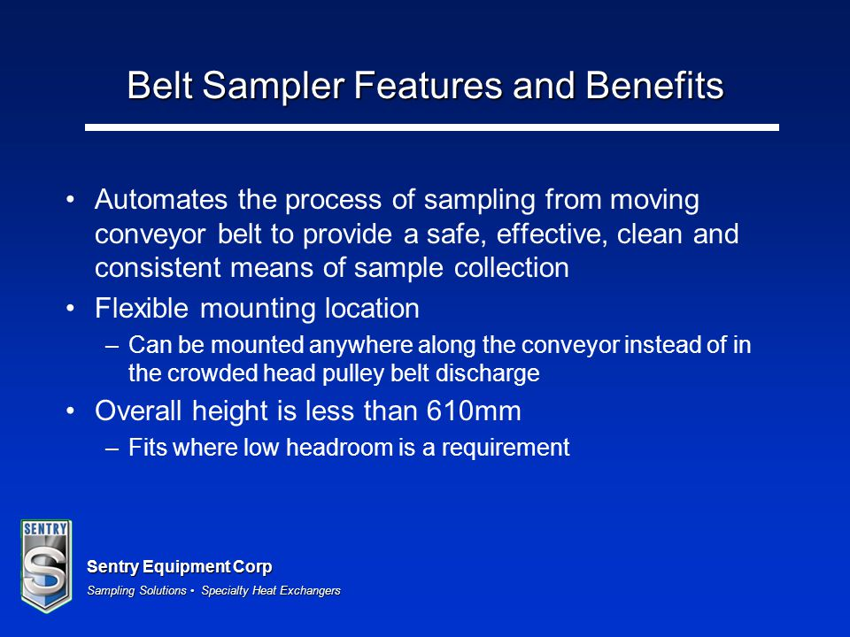 Belt Sampler Features and Benefits