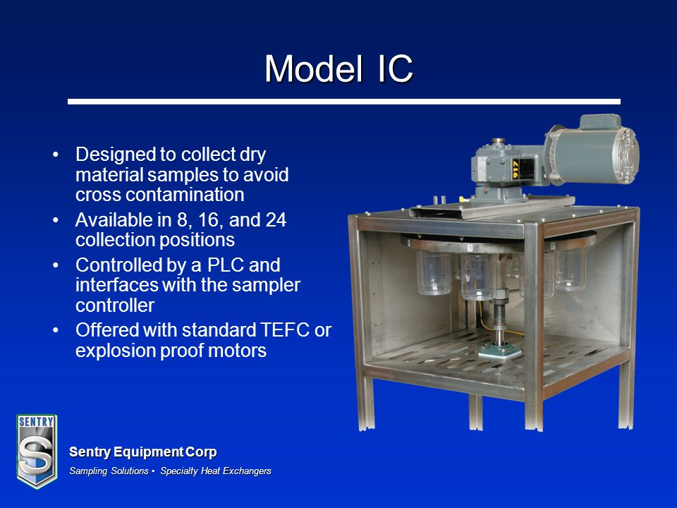 Model IC Designed to collect dry material samples to avoid cross contamination. Available in 8, 16, and 24 collection positions.