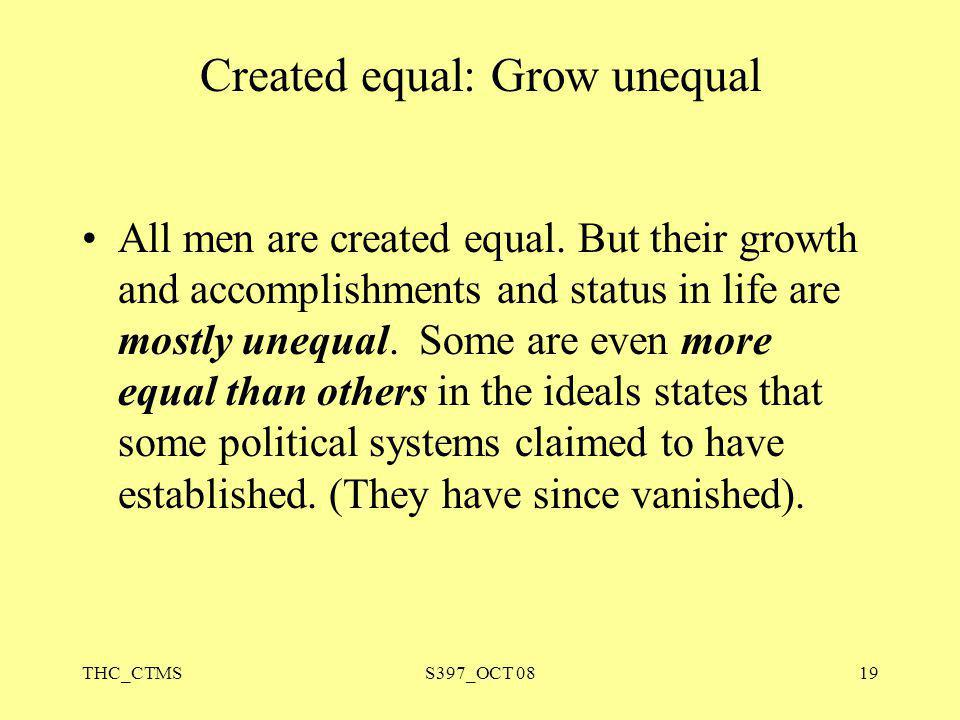 Created equal: Grow unequal