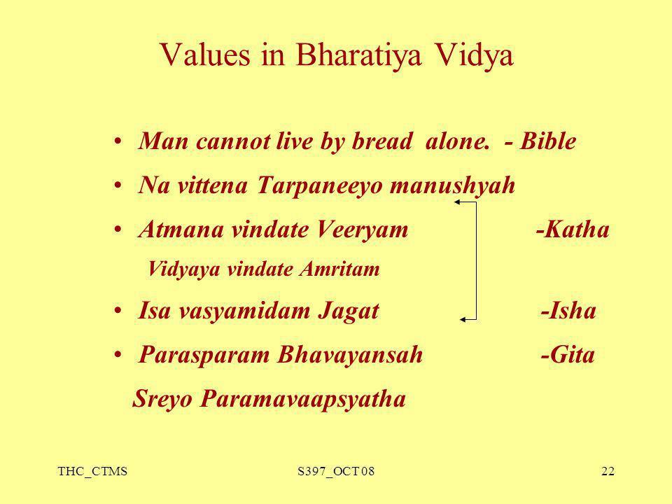 Values in Bharatiya Vidya