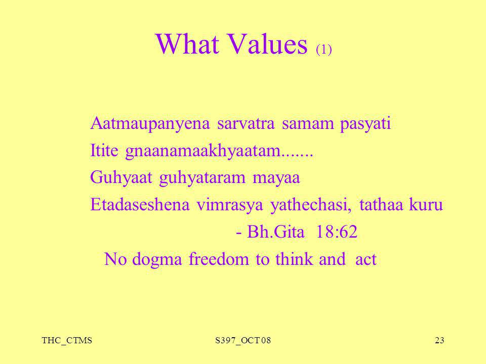 What Values (1) Aatmaupanyena sarvatra samam pasyati
