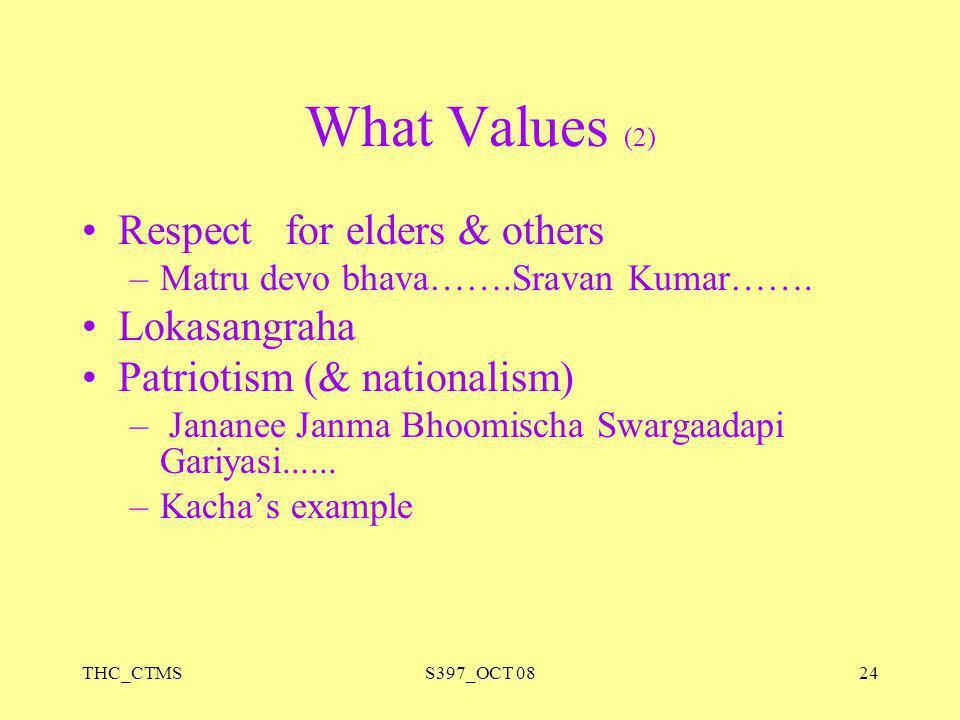What Values (2) Respect for elders & others Lokasangraha