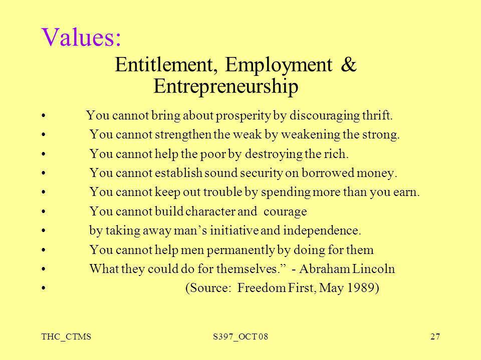 Values: Entitlement, Employment & Entrepreneurship