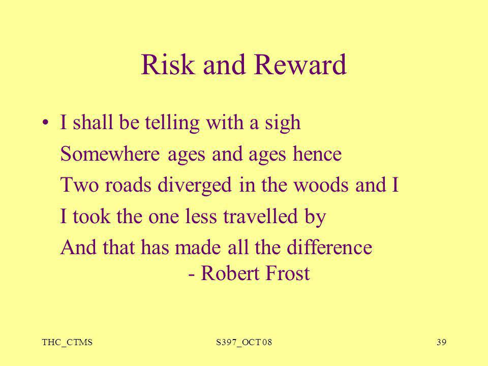 Risk and Reward I shall be telling with a sigh