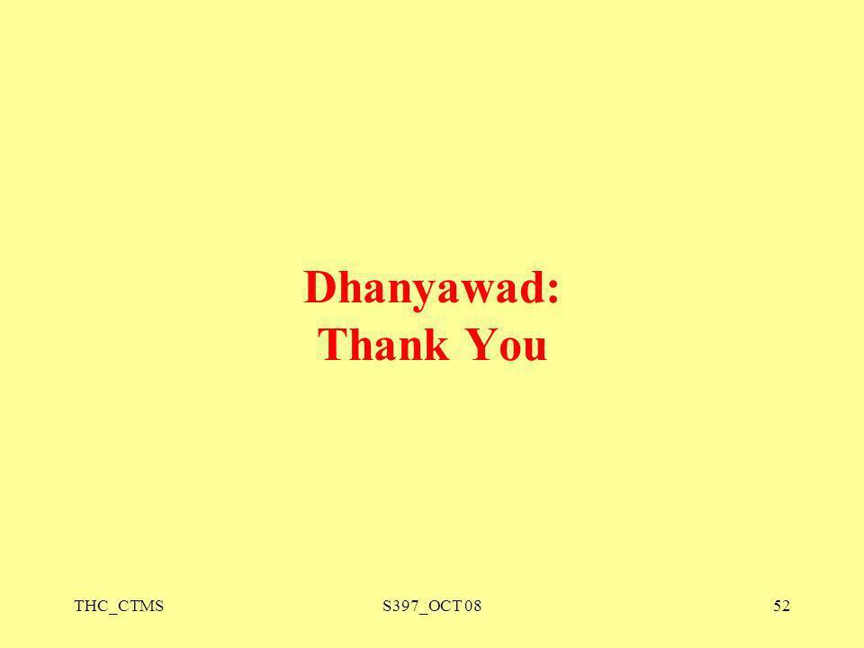 Dhanyawad: Thank You THC_CTMS S397_OCT 08