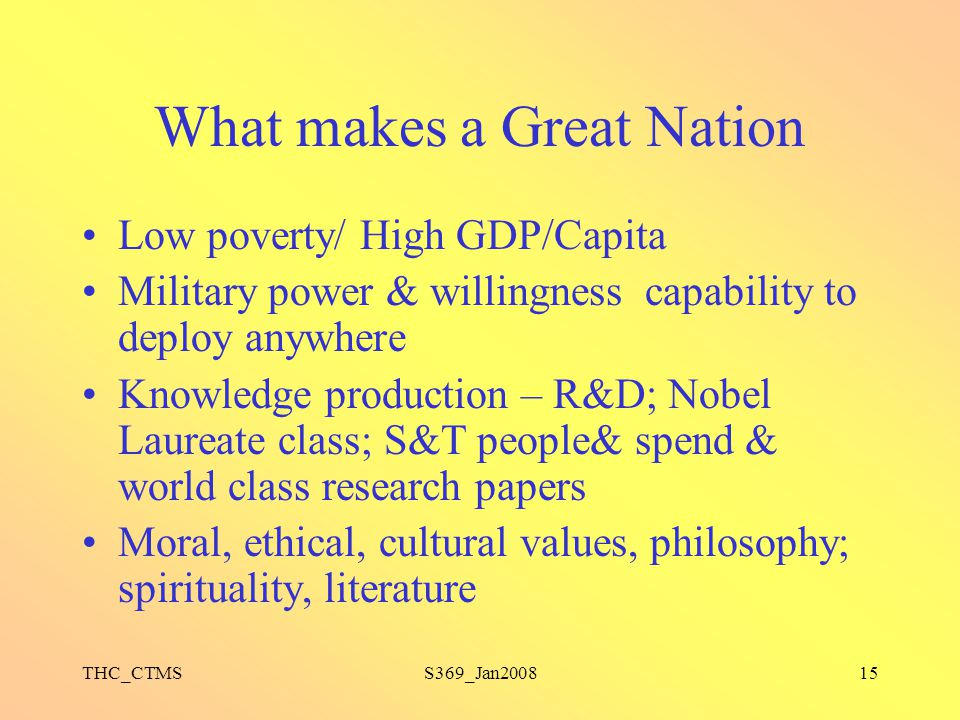 What makes a Great Nation