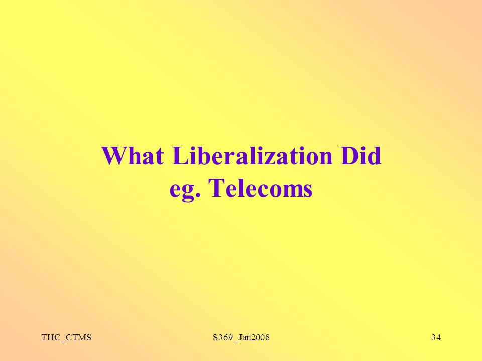 What Liberalization Did eg. Telecoms
