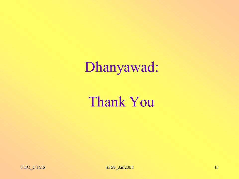 Dhanyawad: Thank You THC_CTMS S369_Jan2008