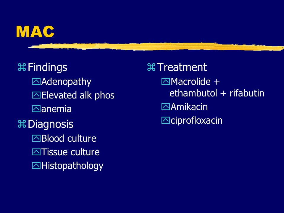 MAC Findings Diagnosis Treatment Adenopathy Elevated alk phos anemia