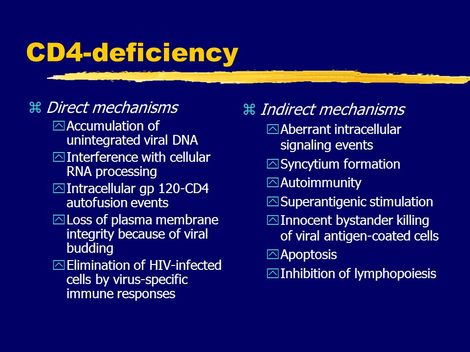 CD4-deficiency Direct mechanisms Indirect mechanisms