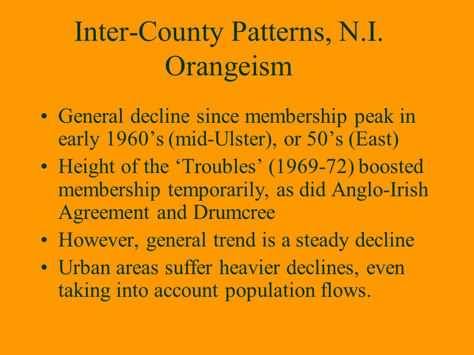 Inter-County Patterns, N.I. Orangeism