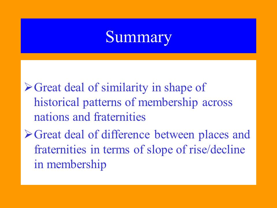 Summary Great deal of similarity in shape of historical patterns of membership across nations and fraternities.