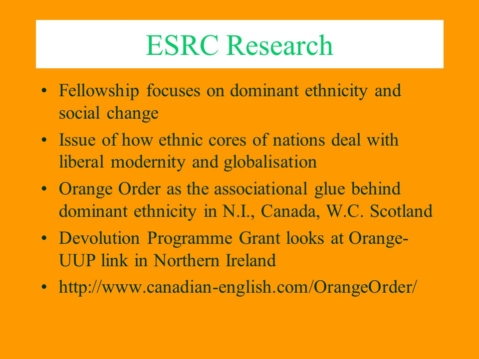 ESRC Research Fellowship focuses on dominant ethnicity and social change.